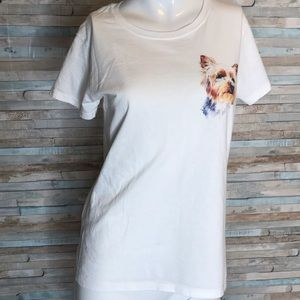 White yorkie t shirt M